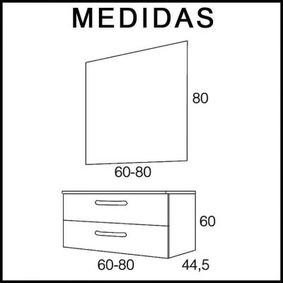 Medidas Muebles de Baño Neos 2C Expres. Entrega Inmediata