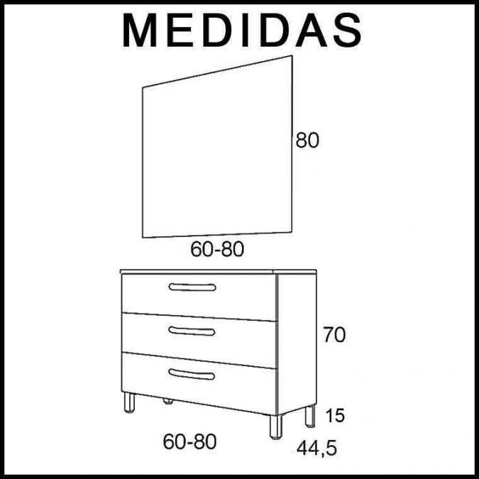 Medidas Muebles de Baño Neos 3C Expres. Entrega Inmediata