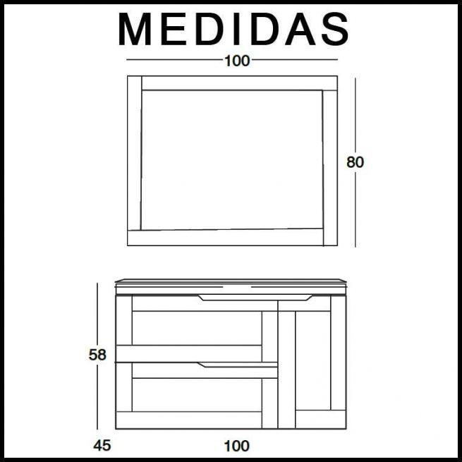 Mueble de Baño Nuevo Alba 100 cm. Medidas