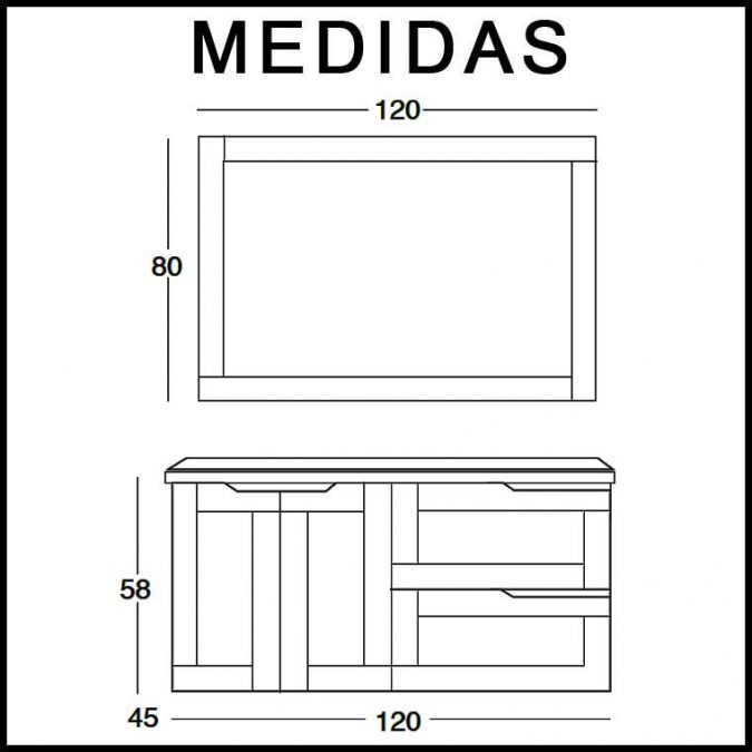 Mueble de Baño Nuevo Alba 120 cm. Medidas