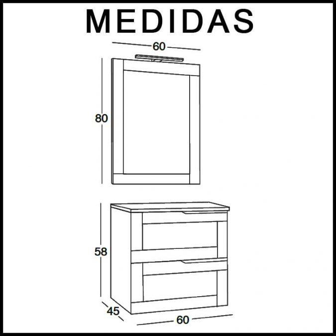 Mueble de Baño Nuevo Alba 60 cm. Medidas
