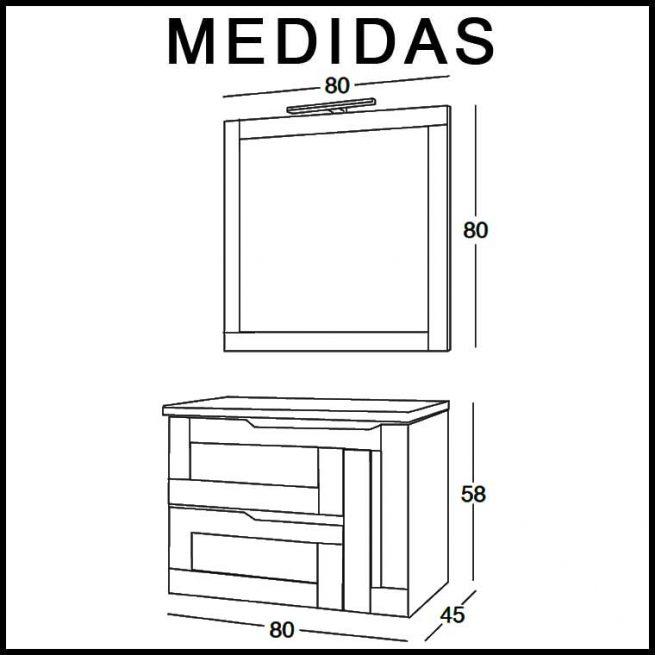 Mueble de Baño Nuevo Alba 80 cm. Medidas