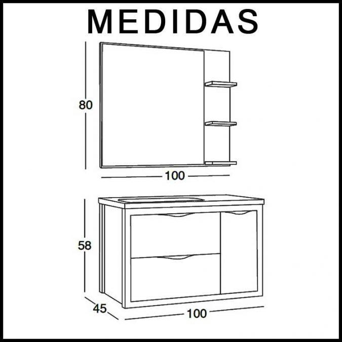 Medidas Mueble de Baño Sheila 100 cm.