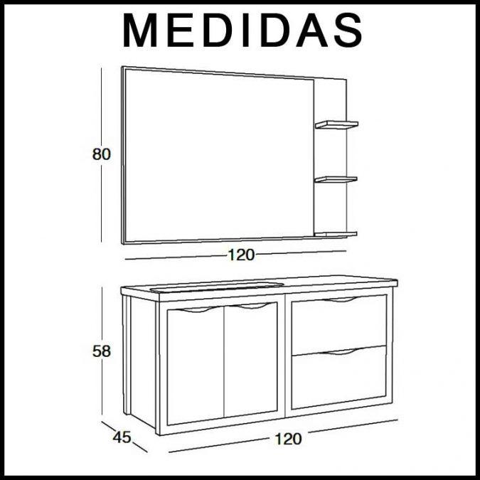 Medidas Mueble de Baño Sheila 120 cm.
