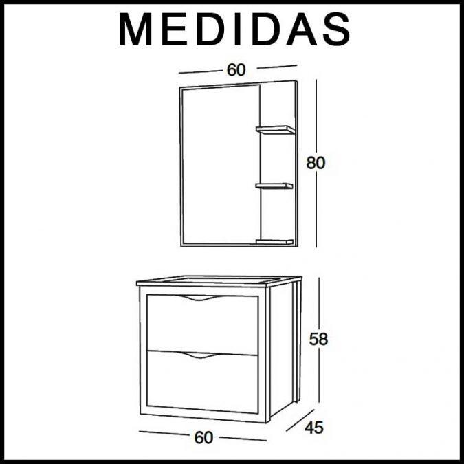 Medidas Mueble de Baño Sheila 60 cm.