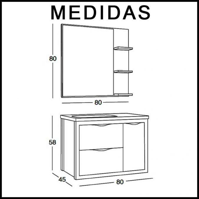 Medidas Mueble de Baño Sheila 80 cm.