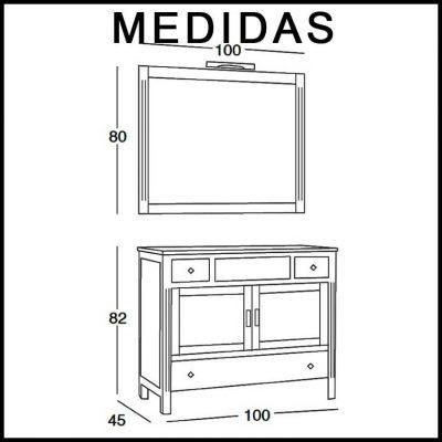 Medidas Mueble de Baño Sofía 100 cm.