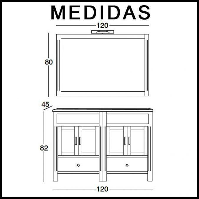 Medidas Ambiente Mueble de Baño Sofía 120 cm.
