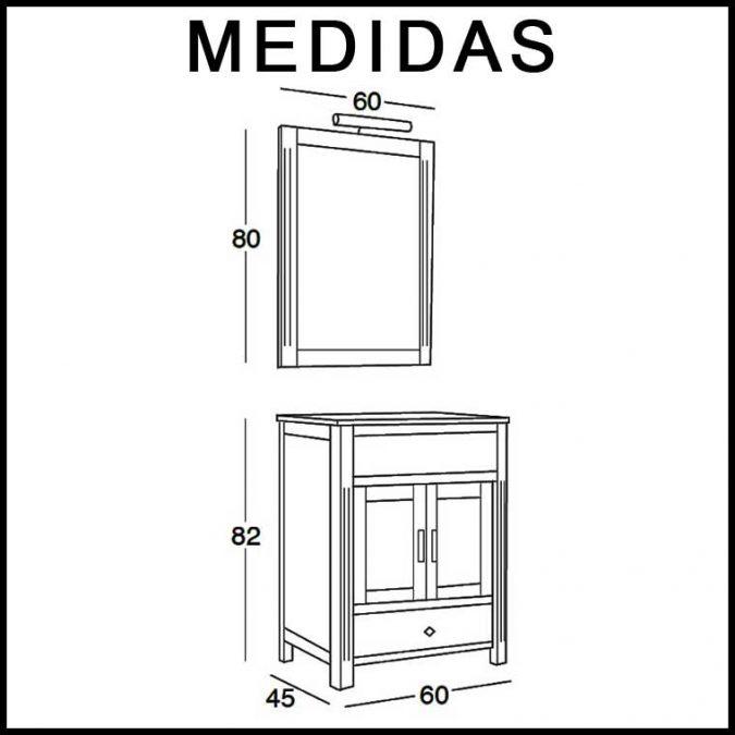 Medidas Mueble de Baño Sofía 60 cm.