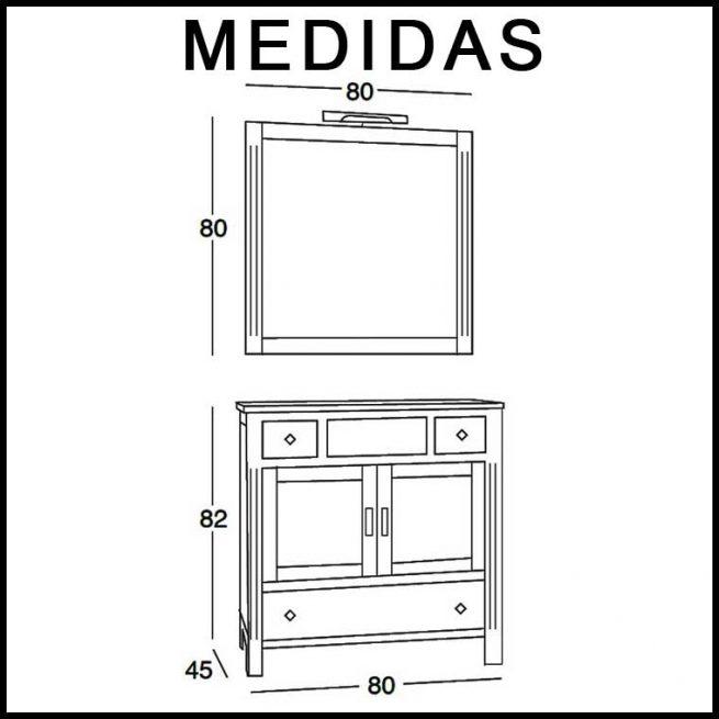 Medidas Mueble de Baño Sofía 80 cm.
