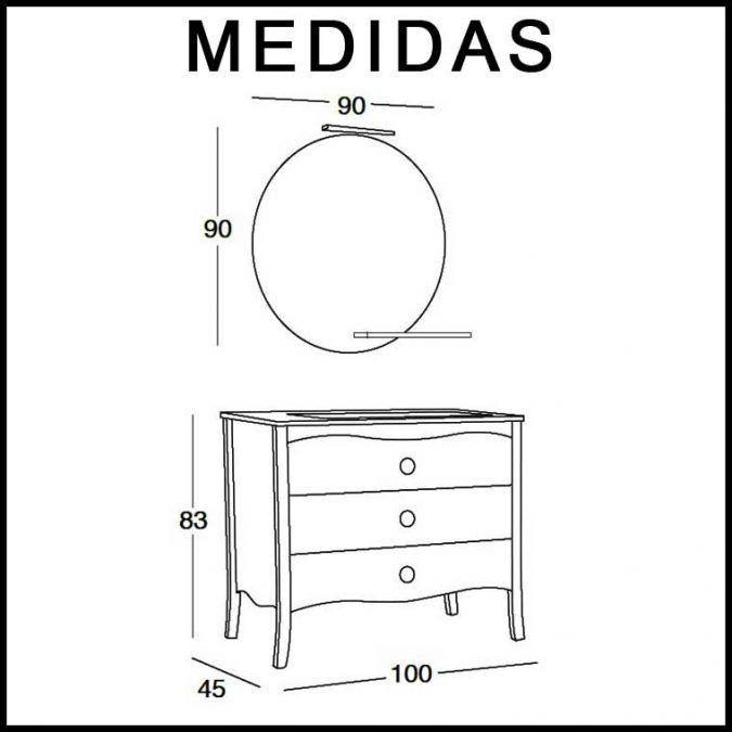 Medidas Mueble de Baño Verónica de 100 cm.
