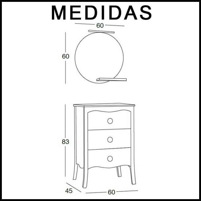 Medidas Mueble de Baño Verónica de 60 cm.