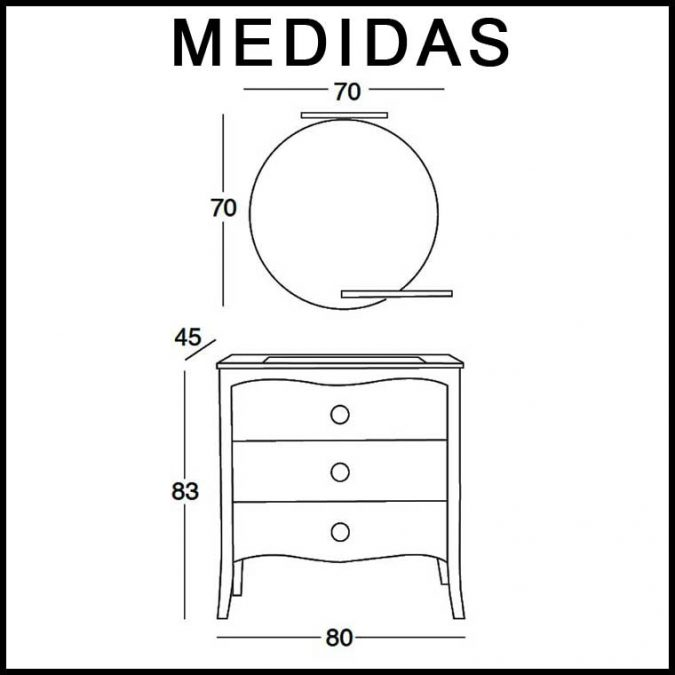 medidas Mueble de Baño Verónica de 80 cm.
