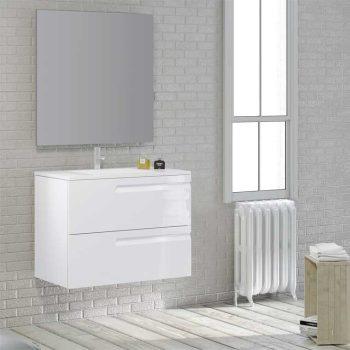 Mueble de Baño Zeus 2 Cajones Expres. Acabado Blanco Brillo