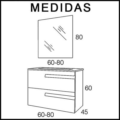 Medidas Muebles de Baño Zeus 2C Expres. Entrega Inmediata