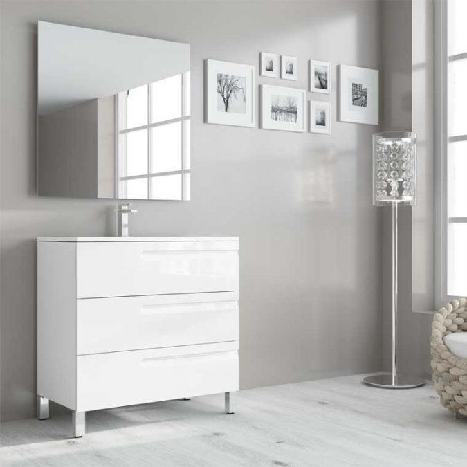 Mueble de Baño Zeus 3 Cajones Expres. Acabado Blanco Brillo