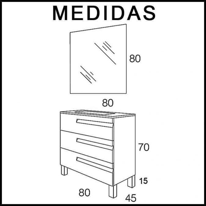 Medidas Mueble de Baño Zeus 3 Cajones Expres.