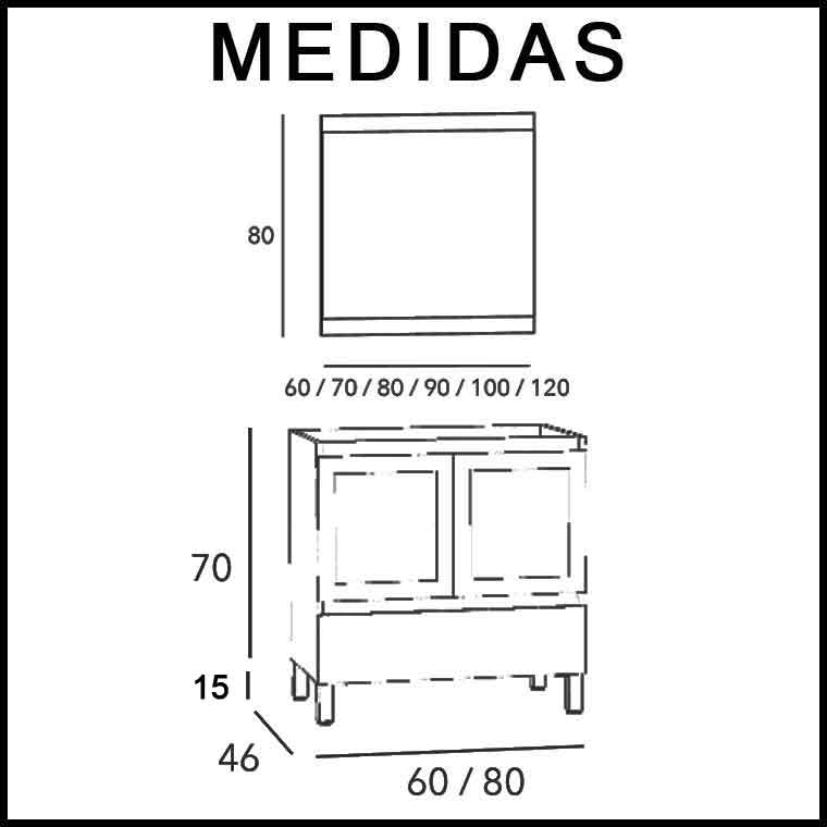 Mueble de ba o aras 80 cm puertas cristal de la serie de for Puerta corrediza para bano medidas