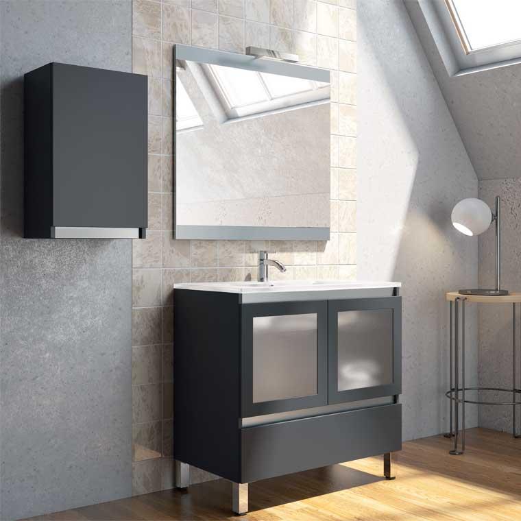 Mueble de ba o aras 80 cm puertas cristal de la serie de for Mueble bano 75 cm
