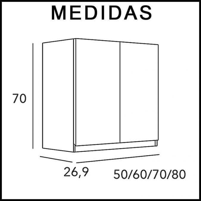 Medidas Mueble Auxiliar Baño de Colgar 2P Aqua