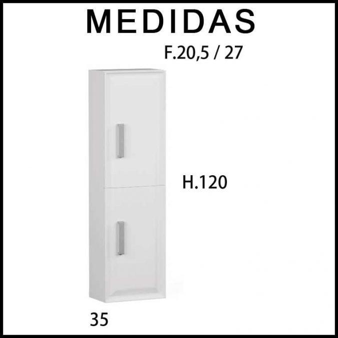 Medidas Armario auxiliar baño suspendido Alda