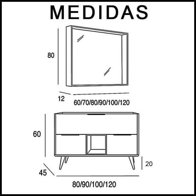 Medidas Mueble de Baño Vintage 3C y Caja Central.
