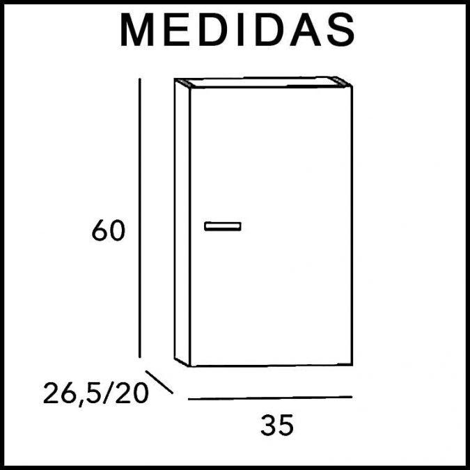 Medidas Mueble Auxiliar Baño de Colgar Vega