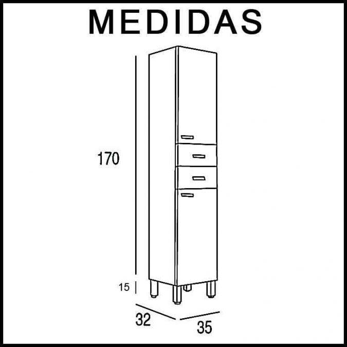 Medidas Mueble Auxiliar Baño de Pie Vega
