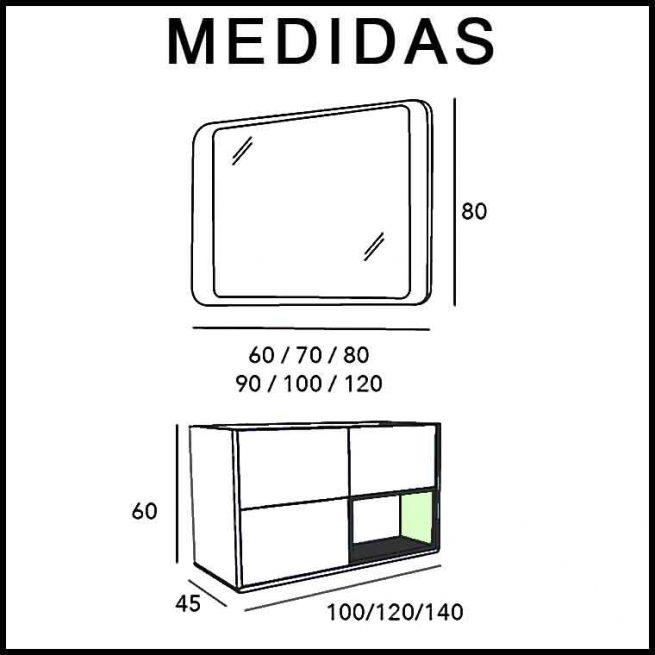 Medidas Mueble de Baño Vintage 3C y Caja Lateral