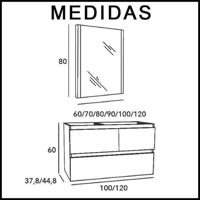 Medidas Mueble de Baño Aqua Suspendido 3C 100 cm.