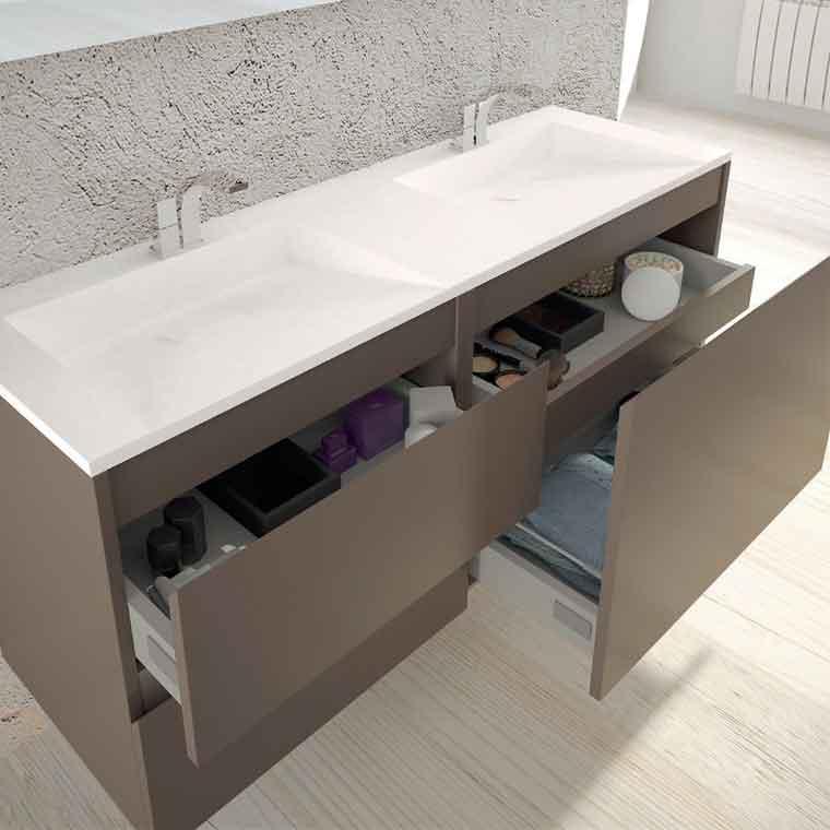 Mueble De Ba O Aqua Suspendido 3c 120 Cm De La Serie De