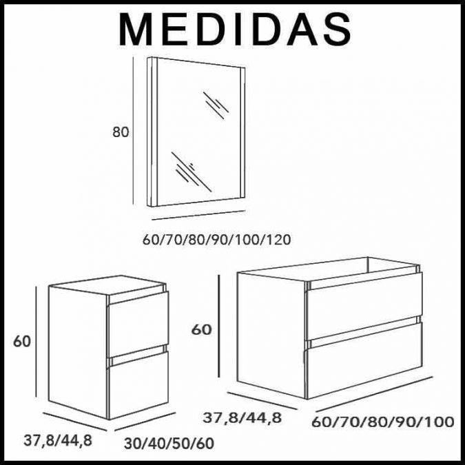 Medidas Mueble de Baño Aqua Suspendido 4C 120 cm.