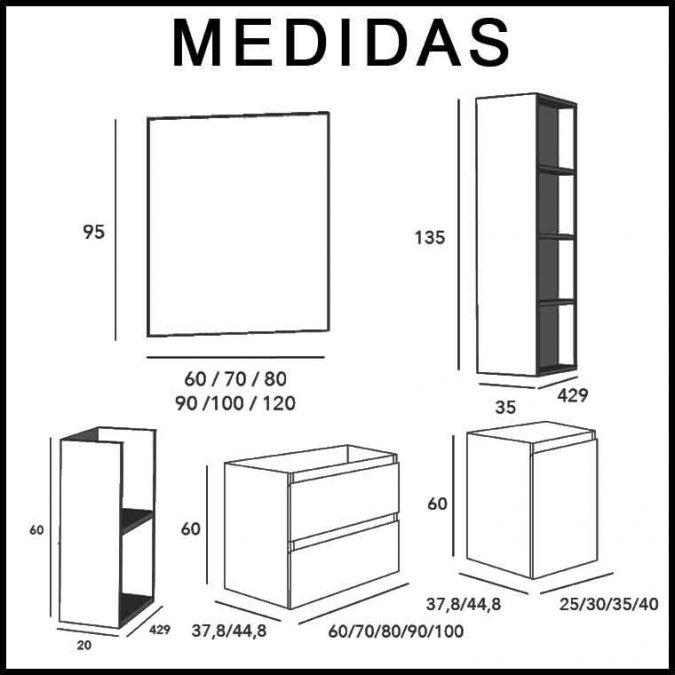 Medidas Mueble de Baño Aqua Suspendido 2C 1P 135 cm.