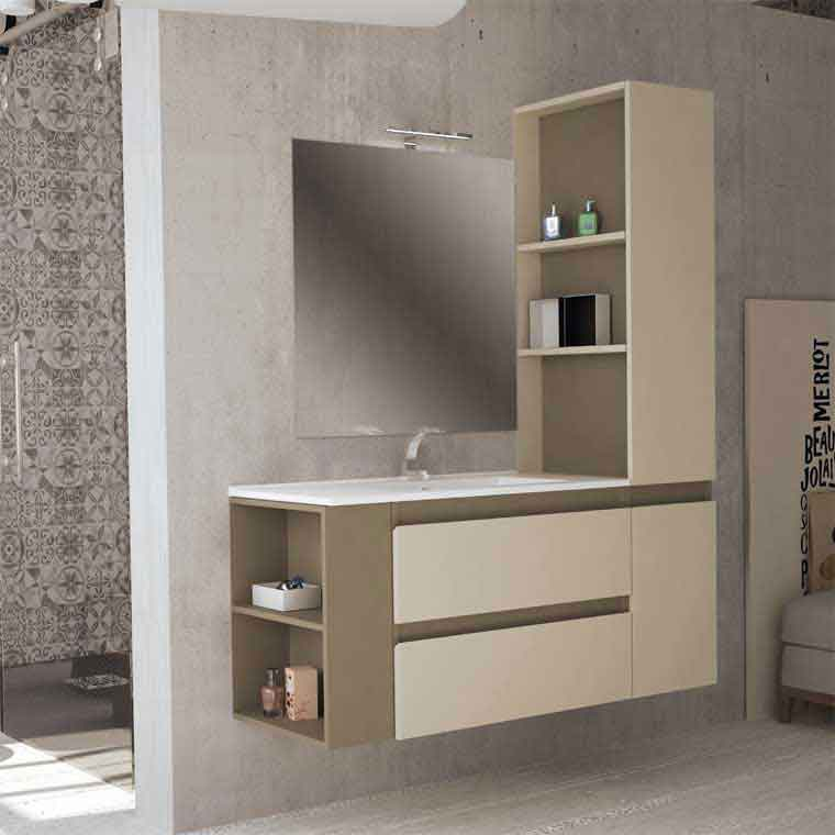 Mueble de ba o aqua suspendido 2c 1p 135 cm de la serie for Muebles auxiliares de bano online