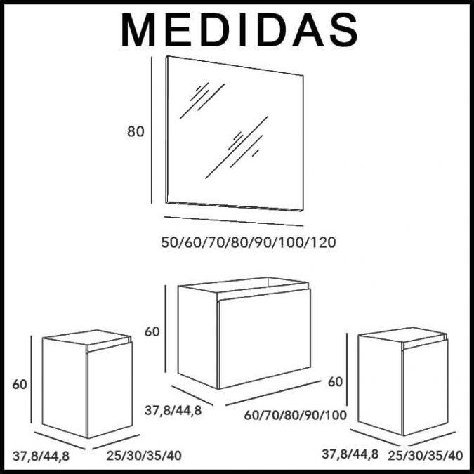 Medidas Mueble de Baño Aqua Suspendido 1C 2P 140 cm.