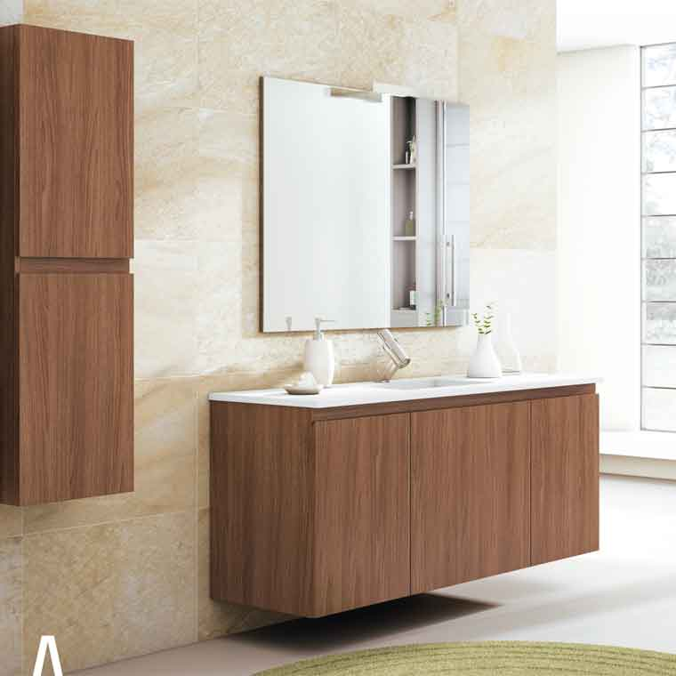 Mueble de ba o aqua suspendido 1c 2p 140 cm de la serie for Muebles de bano 140 cm