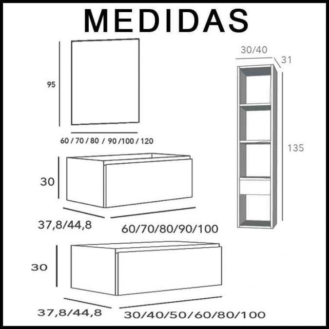 Medidas Mueble de Baño Aqua Suspendido 2C Aux 100 cm.