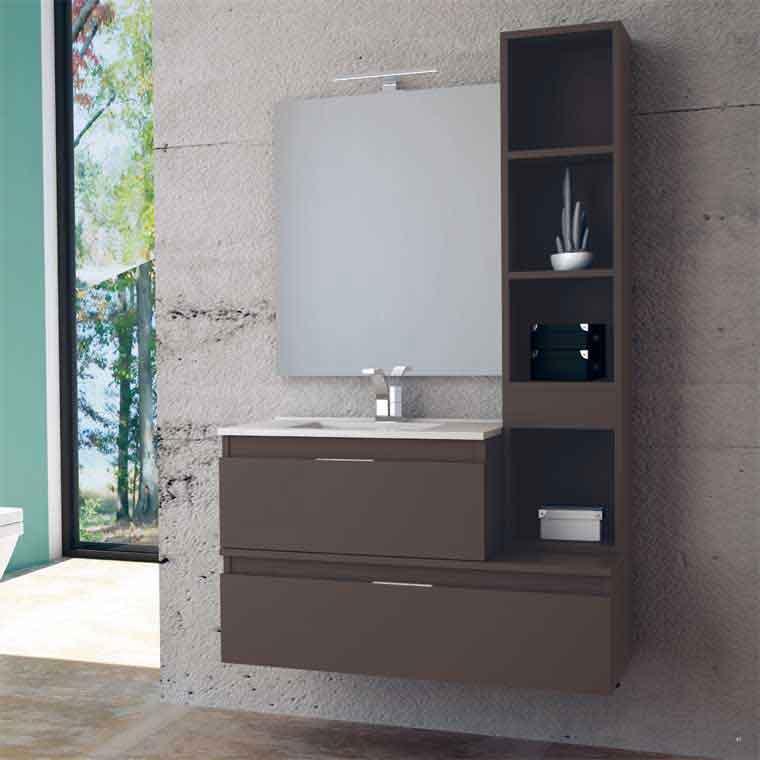 Mueble de ba o aqua suspendido 2c aux 100 cm de la serie - Muebles auxiliares de bano para colgar ...