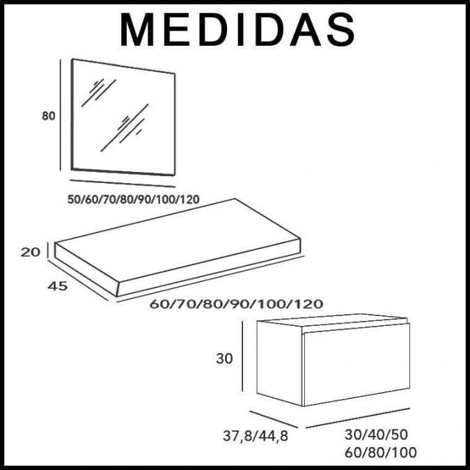 Medidas Mueble de Baño Aqua Suspendido 1C 80 cm.