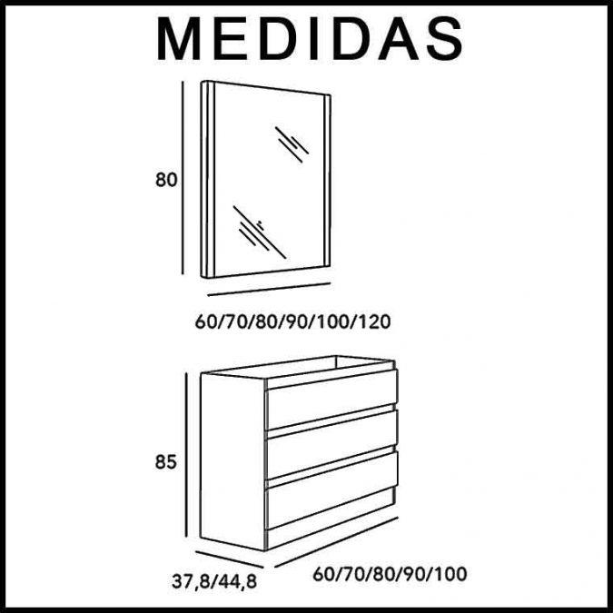 Medidas Mueble de Baño Aqua Suelo 3C 100 cm.