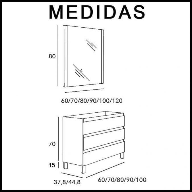 Medidas Mueble de Baño Aqua Suelo 3C con Patas 100 cm.