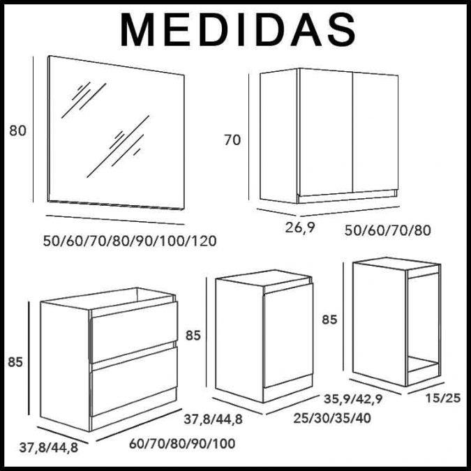 Medidas Mueble de Baño Aqua Suelo 2C, 1P, 1T, 120 cm.