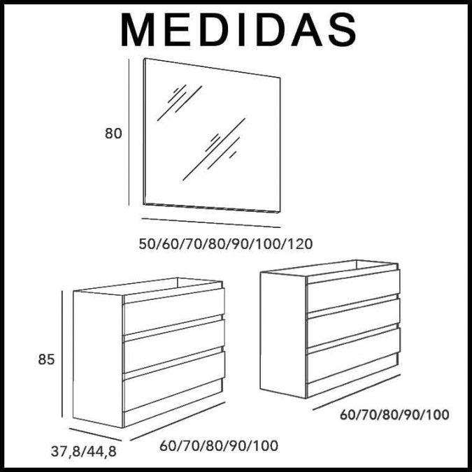 Medidas Mueble de Baño Aqua Suelo 6C 120 cm.