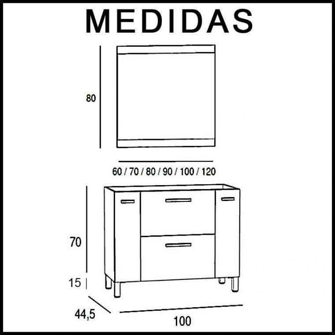 Medidas Mueble de Baño Aroa 100 cm.