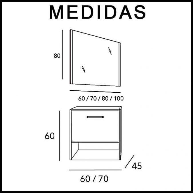 Medidas Mueble de Baño Kira 1C 1H