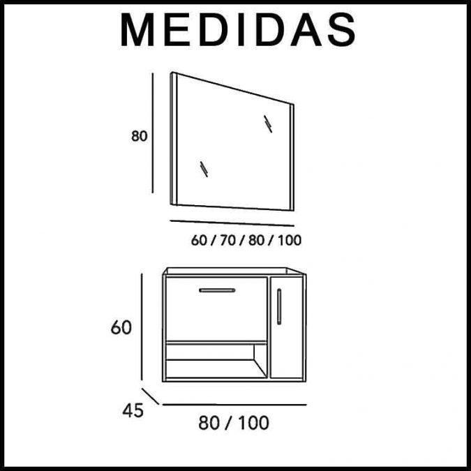 Medidas Mueble de Baño Kira 1C 1H 1P