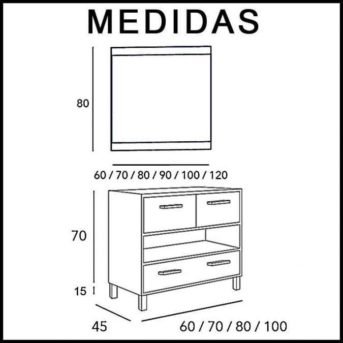 Medidas Mueble de Baño Kira 2P 1C 1H