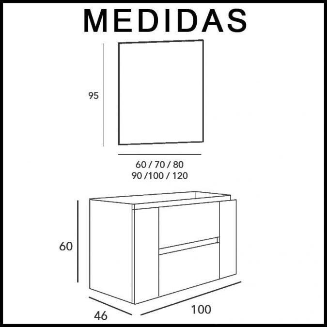 Medidas Mueble de Baño Kloe 2 Cajones, 2 Puertas de 100 cm.