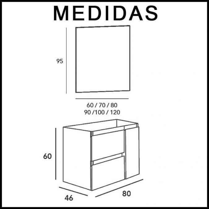 Medidas Muebles de Baño Kloe 2 Cajones, 1 Puerta de 80 cm.