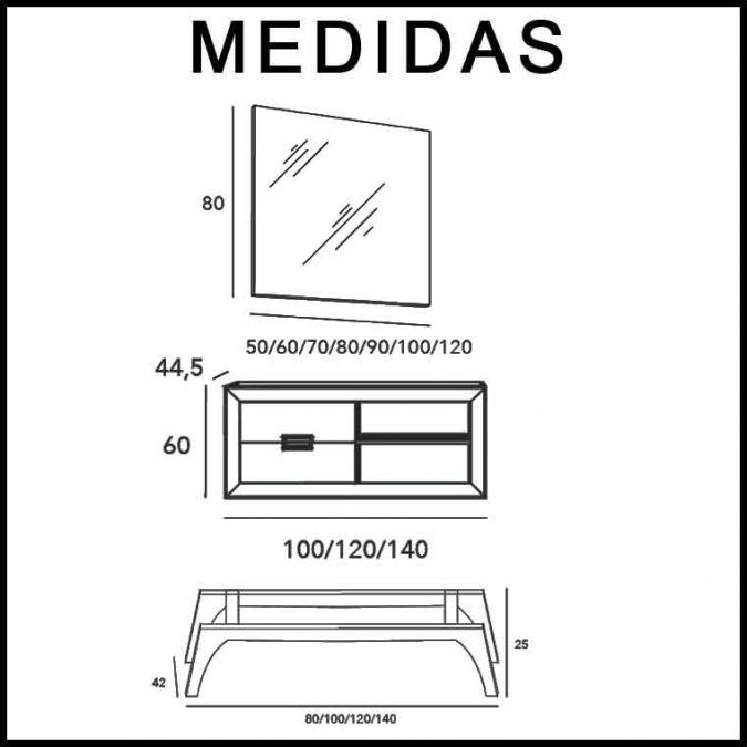 Medidas Mueble de Baño L-Gant 2C 1H